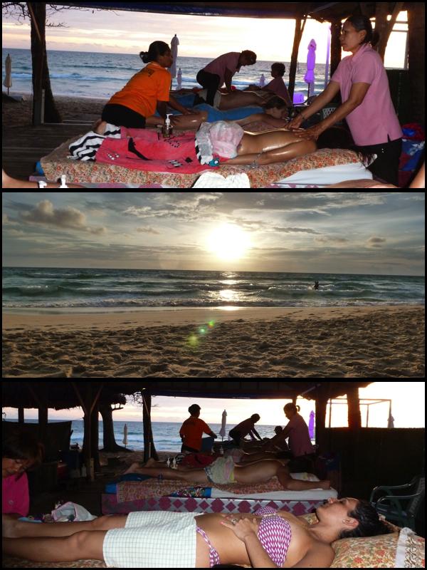 É lógico, a típica massagem, só que dessa vez na praia, no pôr do sol. Of course, tipical massage, but this time on the sunset, on the beach.