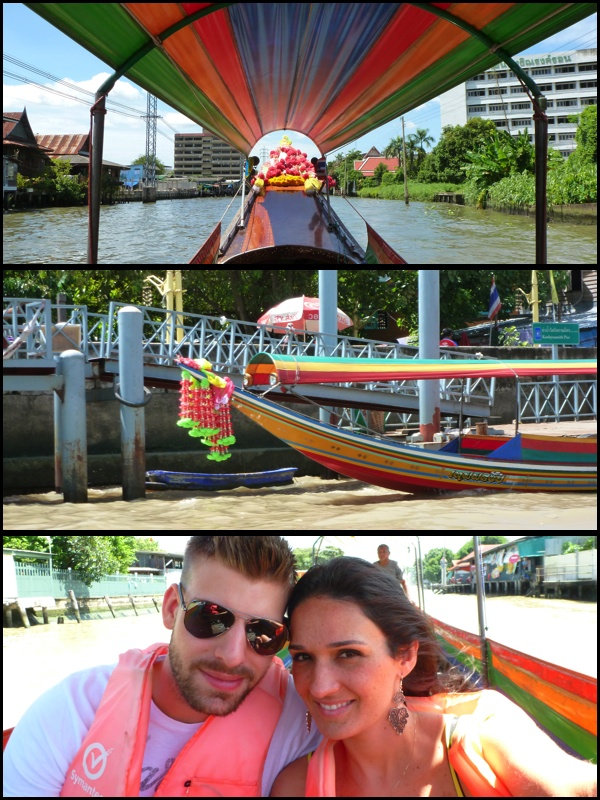 Fomos num passeio pelos canais de Bangkok. We went for a ride in the Canals of Bangkok.