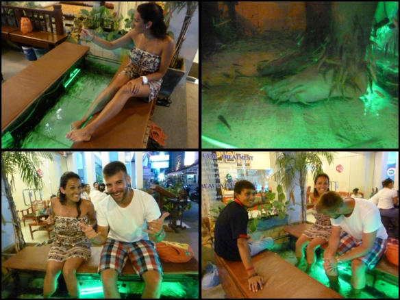 De novo, pra aguentar tudo isso só mesmo uma massagem. Peraí!!! Fish pedicure dessa vez. Eu quis muito experimentar. Fiz 4 segundos e quase morri de tanto rir!!! Tossi, engasguei, quase caí do banco. Muita cócegas. O Arthur adorou! Ficou lá tranquilo. Até filmei. Olhem o vídeo: Again, to handle all of this only doing a massage. Wait!! Fish pedicure?