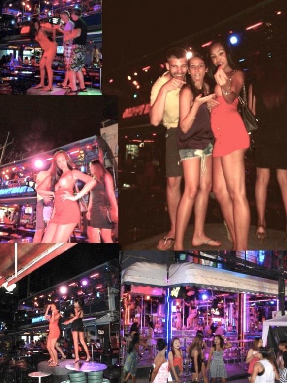 """Patong Beach. Uma rua só de barzinho/balada. Quase TODOS abertos com prostitutas dançando em palcos. Ou transexuais! Tem muito lá. Muito mesmo!! Homens que vão pra paquerar têm que tomar cuidado com as tailandesAS, podem ser tailandesOS.. rsrs. Não tem muita foto por que não pode tirar. Já ouviu falar do Ping Pong show? É típico na Tailândia e super famoso. É basicamente um """"show"""" onde as mulheres colocam bolinhas de ping pong na vagina e jogam pra fora, mas é claro que """"só"""" isso não é mais interessante e foi aprimorado!!! Elas colocam TUDO que vcs podem imaginar lá dentro, como por exemplo: passarinho, peixes, cortam banana, acendem cigarro, entre outras coisas. BIZARRO!! A cada metro que a gente anda nessa rua aparecem 3 pessoas na sua frente te chamando pra ir num Ping Pong show. Nós fomos, CLARO. O público não é só homens, tem mulheres, casais jovens, mais velhos, simplesmente curiosos pra ver a coisa mais estranha do mundo. A gente ri, fica espantada, não acredita, quer ir embora e no final das contas adora ter tido a oportunidade de ir numa coisa tão chocante. Patong Beach. A street full of bars/clubs. Almost ALL of them opened with strippers dancing on stages. Or ladyboys! There is a lot there! Really a lot!! Men going to flirt needs to be careful. It can be a ladyboy. There is not too many pictures because it is not allowed to take it. Have you ever heard about """"Ping Pong Show""""? It is tipical and very famous in Thailand. It is basically a """"show"""" where tha ladies place a ping pong ball in their vagina and throw it out, but of course that only that is not interesting anymore so they improved it!!! They place EVERYTHING you can imagine, like: a bird, fishes, they cut a banana, light a cigarette, and other stuff. BIZARRE!! Every meter you walk in this street comes 3 people offering us to go to a Ping Pong Show. We went, OF COURSE. It is not only for men, there is women, young and old couples, simply curious people wanting to see the most weird thing ever. We lau"""