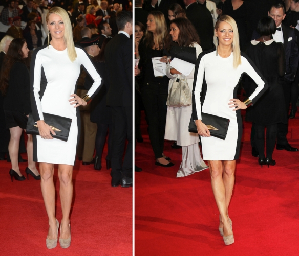 Tess Daly by Stella Mccartney On the white background (from the lady with a white outfit) we can see the black stripe in the sleeve. Very functional. Na foto com o fundo branco (da roupa da moça) dá pra ver o lado externo da manga preto.